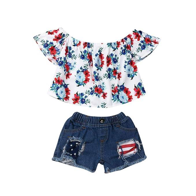 Amazon.com: winagainer pequeño bebé niñas Floral ropa Set ...