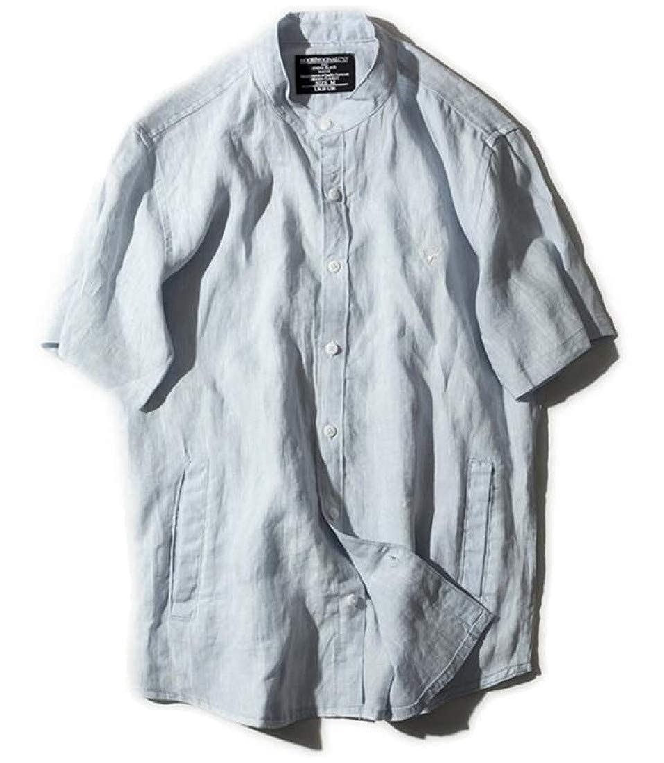 YUNY Mens Banded Collar Solid-Colored Casual Short Sleeve Woven Shirt Light Blue L