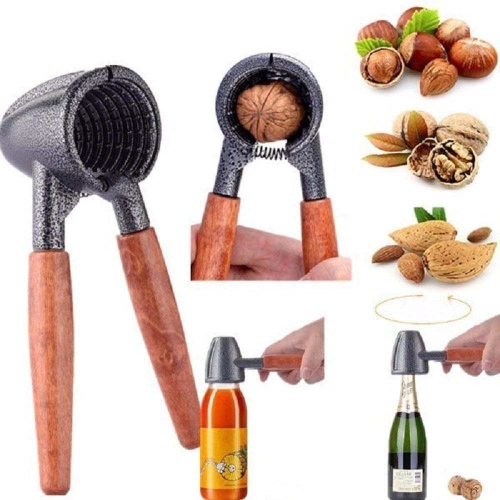 Nut Cracker Tool with Wood Handle, Kitchen Tool