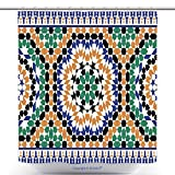 vanfan-Durable Shower Curtains Morocco Seamless Border Traditional Islamic Design Mosque Decoration Element Polyester Bathroom Shower Curtain Set With Hooks(70 x 88 inches)