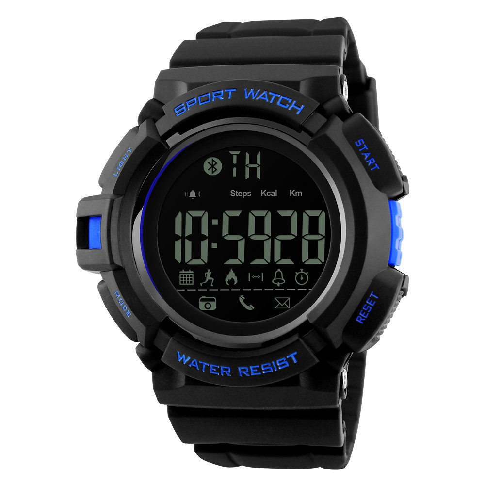 Amazon.com: SKMEI 1245 Smart Watch Bluetooth 50M Waterproof Multifunction Digital Sport Wrist Watches for Men (Blue): Cell Phones & Accessories