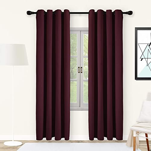 SNITIE Burdundy Red Velvet Curtains