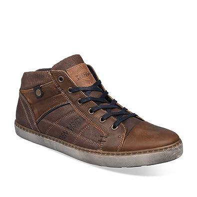 9ffc61ae4a76 DENIM SIDE CUIR Baskets Marron Homme Chaussea  Amazon.fr  Chaussures ...