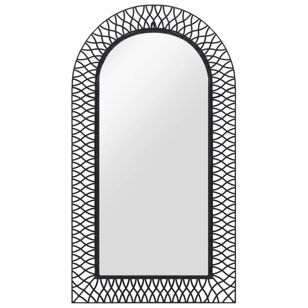 vidaXL Specchio da Parete ad Arco 50x80 cm Nero Cornice Metallo Specchiera