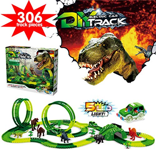 YITOOK Dinosaur Race Car Tracks Toys for Kids,Dual Loops 360° Route Race Car Flexible Track Set, Childrens DIY Variety Assembly Flexible Tracks,Christmas and Birthday for Boys Girls
