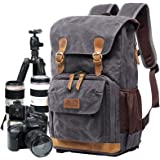Camera Bag, Canvas SLR DSLR Camera Backpack Large Capacity Front Open Waterproof Anti-Shock Camera Rucksack Camera Travel Bag Professional Camera Lens Organizer Gray