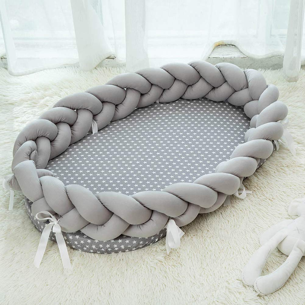 Baby Nest Infant Sleeping Baby Portable Bassinet, Soft Cotton Baby Crib Bed with Breathable Bumper Cot for Bed Travel, Grey 35 x 20 Inches by Kishome