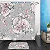 Vanfan Bathroom 2 Suits 1 Shower Curtains & 1 Floor Mats seamless pattern with pink flowers and leaves on gray background watercolor floral pattern flower 524631061 From Bath room