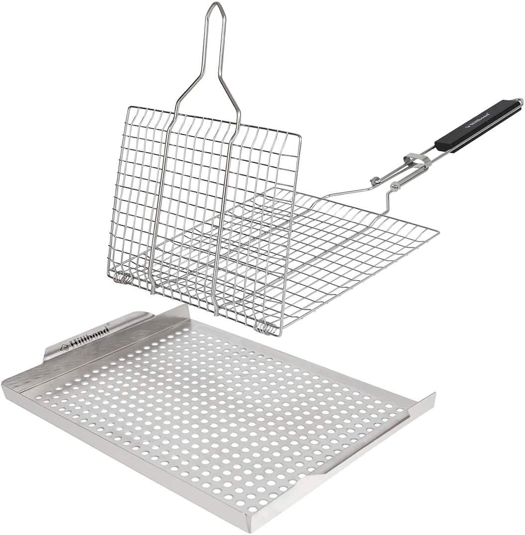 Hillbond Grill Basket and Grill Pan: Stainless Steel Foldable Grill Net and BBQ Grill Tray for Vegetable Fish Steak Shrimp Kabob (Set of 2)