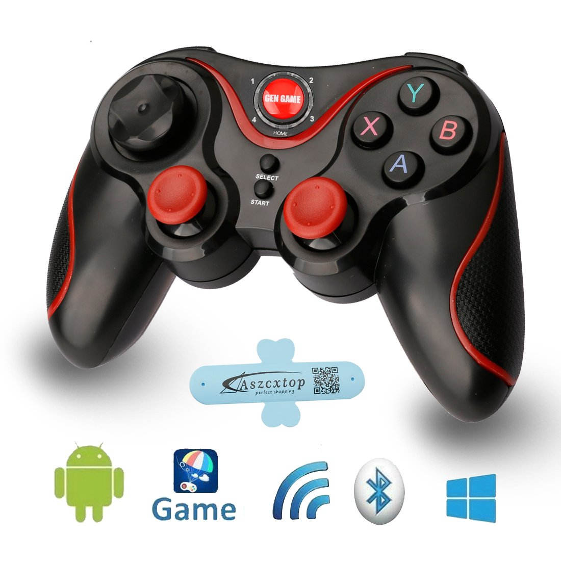 A-szcxtop S3 Bluetooth Gamepad wire wireless Rechargeable Game Controller Support for Smart phone,Pad,TV,TV Box with Android Platform 3.2 and Above