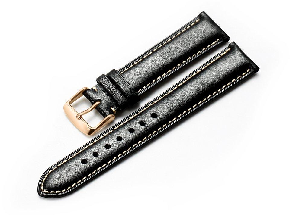 iStrap 本革カーフスキンレザー腕時計バンド パッド入りストラップ スチール製バネ棒とバックル スーパーソフト 18/19/20/21/22mm  22mm Black Tan Stitch 22mm|Black Tan Stitch Black Tan Stitch 22mm B01N3MJ5GH