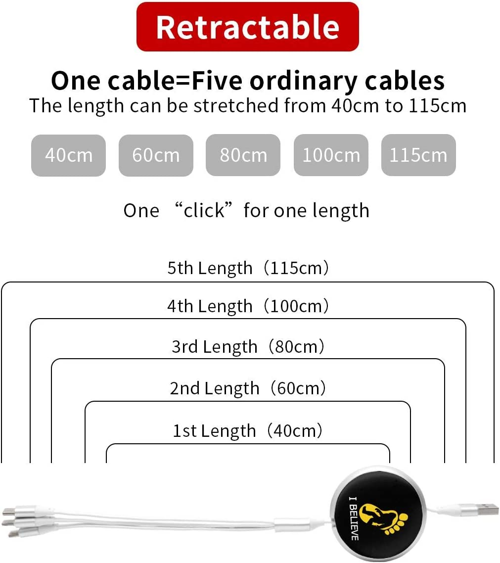 Bigfoot I Believe Three-in-one Retractable Round Data Cable Mini 3A USB Cable with Type-C Most Smart Phones /& Pads