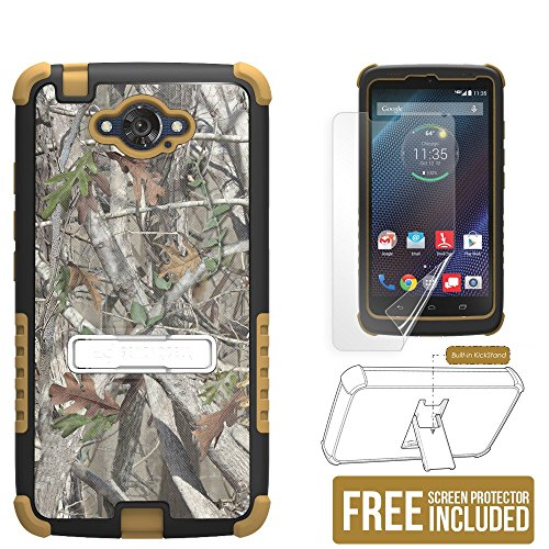 Motorola Droid Turbo XT1254 Case, High Impact Rugged Tri Shield Protective Hybrid Cover with Built in Kickstand and Clear Screen Protector film Autumn Camouflage