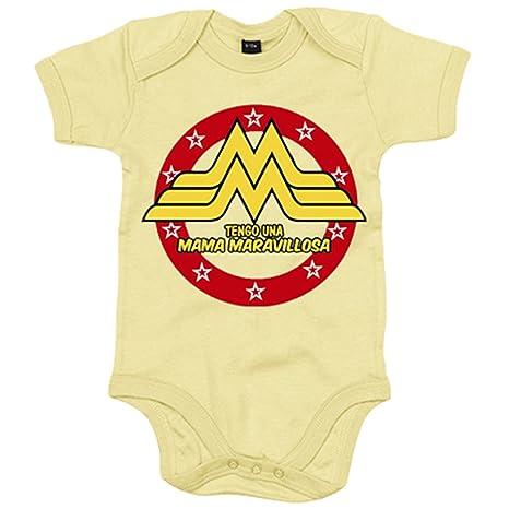 Body bebé Wonder Woman tengo una mamá maravillosa - Amarillo, 6-12 meses