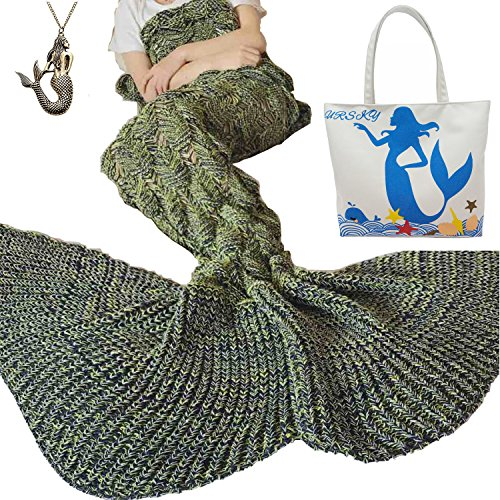URSKY Crochet Knitted Sofa Living Room Mermaid Tail Blanket, Cozy and Soft All Season Mermaid Tail Pattern Throw Sleeping Bag For Adult, Teens and Child (Scale Fancy Tail Spot Yellow)