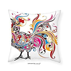 VROSELV Custom Cotton Linen Pillowcase Gallos Decor Collection Colorful Cock Shape With Classic Decorative Curved Lines Paisley Animal Artwork Bedroom Living Room Dorm 20x20