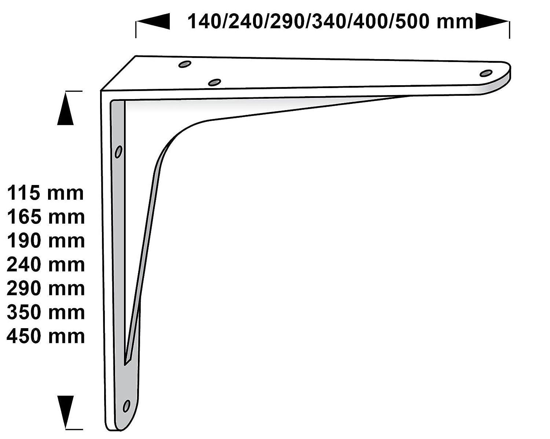 Soporte de carga pesada 450 x 500 x 47 mm soporte de estante SPARTA 7 Tama/ños Aluminio natural Capacidad carga 80-200 kg Consola de carga pesada