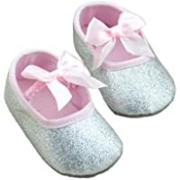 Halau Toddler Baby Girl Soft Sole Mary Jane Crib Shoes Glitter Anti-Slip Princess Bow Prewalker