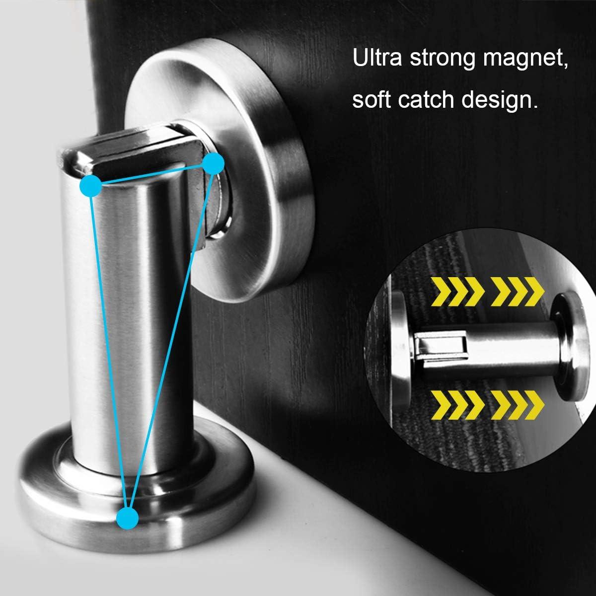 Soft-Catch Magnetic Door Stop Stainless Steel Door Stopper Heavy Duty Modern Door Catch Brushed Satin Nickel Chrome Silver Magnetic Door Stop Wall or Floor Mount 1pack