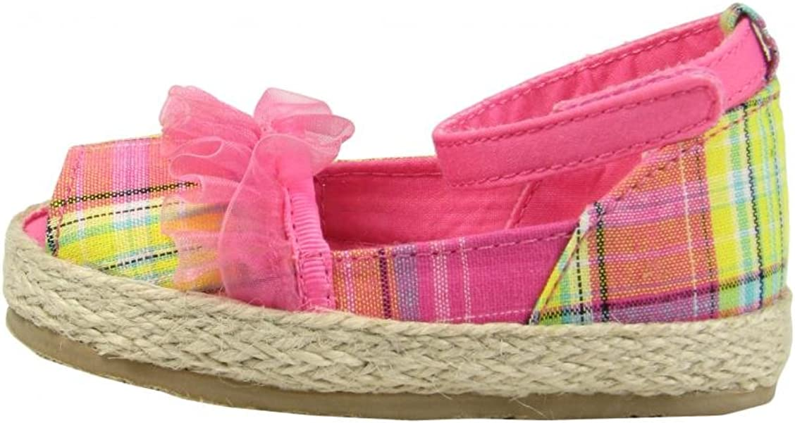 Baby Deer Pink Plaid and Ruffle Peep Toe Espadrille Toddler Girl Baby Shoes