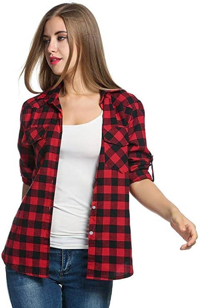 Camisa De Manga Larga De La Camisa De Franela De Cuadros De OtoñO E Invierno De Las Mujeres De Moda Camisa Casual Sylar: Amazon.es: Ropa y accesorios