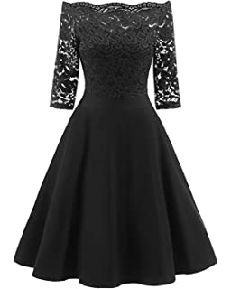 49893415f59 GAMISS Women s Vintage Off Shoulder Cocktail Dress Plus Size Floral Lace  3 4 Sleeves Wedding
