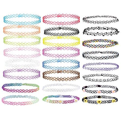 BodyJ4You 12-24PCS Choker Necklace Gothic Henna Tattoo Stretch Elastic Plastic Jewelry Value Pack