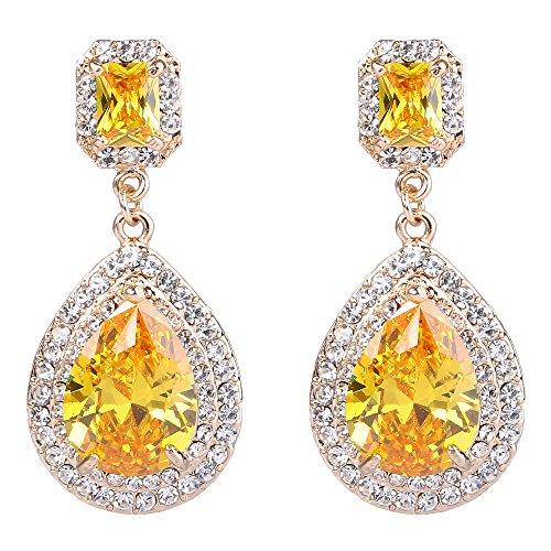 (EVER FAITH Women's Austrian Crystal CZ Charm Teardrop Dangle Earrings Yellow Citrine Color Gold-Tone)