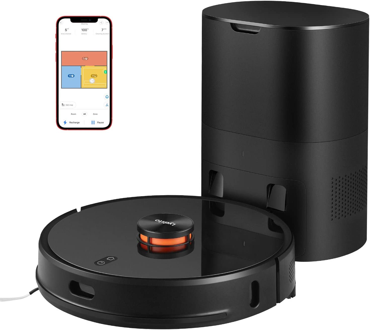 Robot Vacuum with Self Emptying Base,Smart Home Mapping,Robotic Vacuum and Mop,Wi-Fi Connected,2700Pa Suction,Quiet and Self-Charging,Lidar Navigation,Good for Carpets,Hardwood Floors,Black