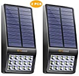 [Pack of 2] Itscool Solar Wall Light Motion Sensor Solar Powered Walkway Light 15 LED with High Sensitivity Microwave Motion Sensor for Garden, Patio, Yard, Entrance, Fence and Stairs (Black)