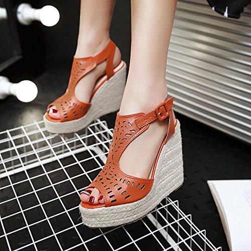 Easemax Femmes Mode Évider Peep Toe Haute Talon Compensé Sandales Orange