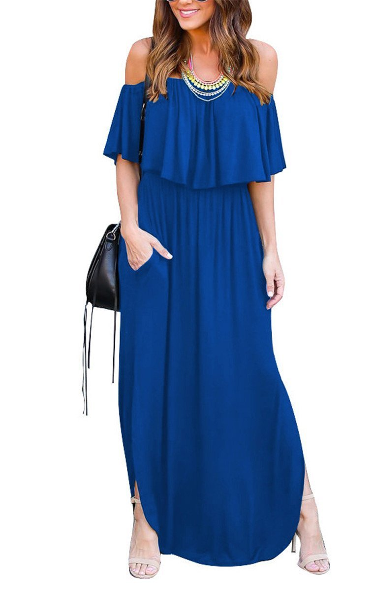 Bolomi Womens Off The Shoulder Ruffled Side Slit Long Maxi Dress with Pockets