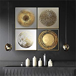 DOLUDO 4 Pieces Nordic Luxury Gold Abstract Wall Art Canvas Poster Print Minimalist Painting Picture Home Decor for Living Room Bedroom with Wooden Inner Frame
