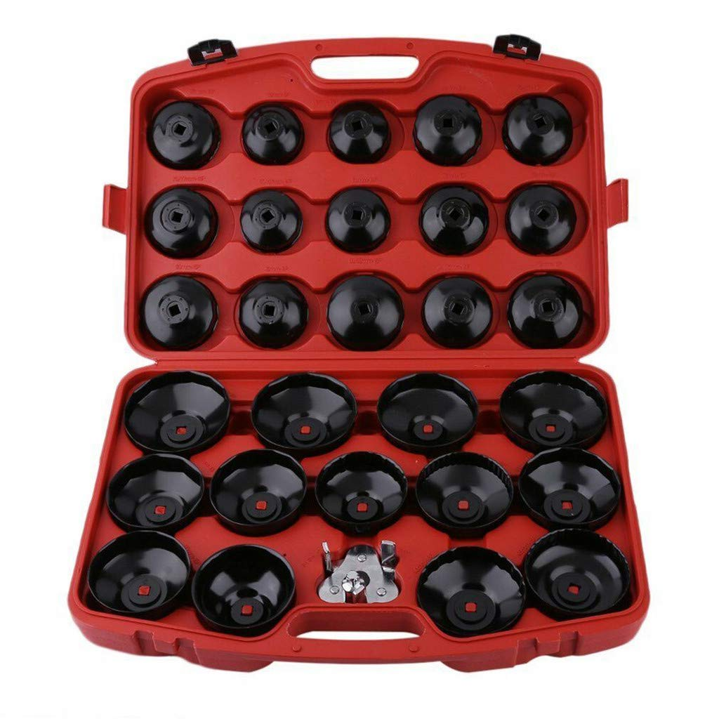 Redgiants 30Pcs Auto Cup Type Oil Filter Cap Wrench Socket Wrench Removal Tool Set W/case Automotive Removal Garage Tool