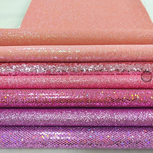 ZAIONE 7 pcs A4 (8 x 12) Sheet Colorful Sparkle Chunky Mixed Glitter Vinyl Faux Fabric Craft Leather Sew for Shoes Bag Sewing Patchwork DIY Craft Applique (Mixed Glitter-Pastel)
