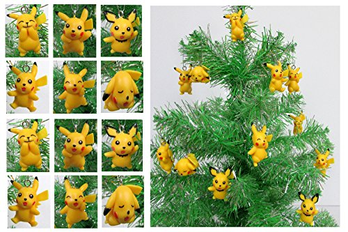 Pokemon Go 12 Piece PIKACHU Christmas Ornament Set - Unique Shatterproof Plastic Design Around 1.5