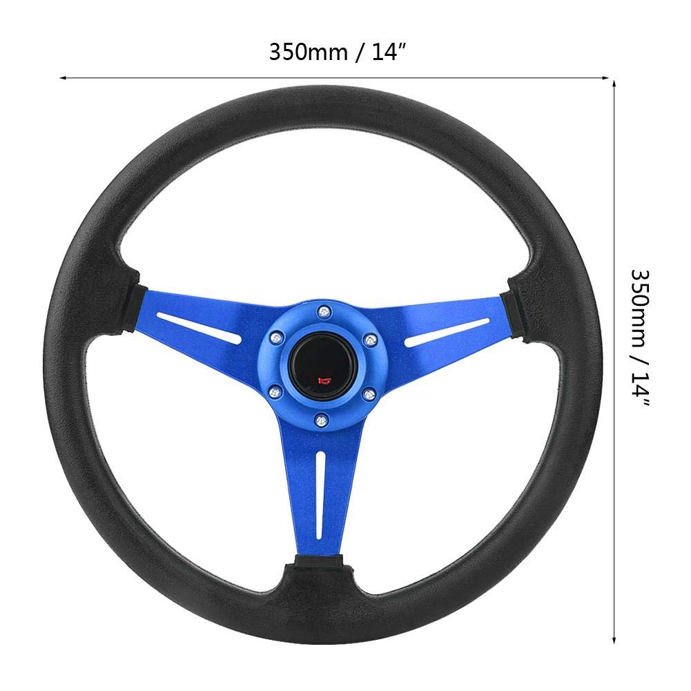 Pasamer 3 Colors 350mm 14inch Universal Aluminum Frame PU Leather 6-Bolt Car Racing Steering Wheel W//Horn 01