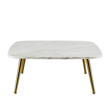 Enjoyable Modern Mid Century Coffee Table With Marble Print And Gold Legs White Ncnpc Chair Design For Home Ncnpcorg