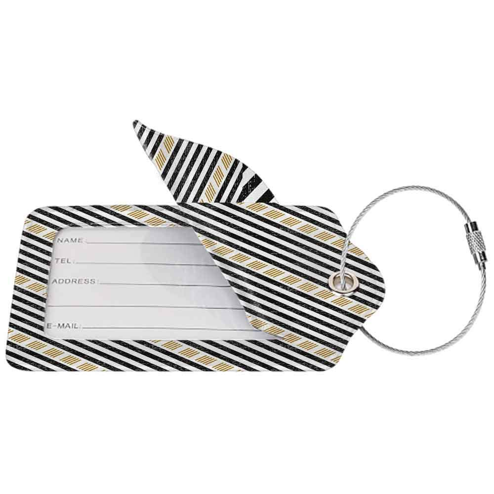 Durable luggage tag Abstract Square and Straight Stripes with Grunge Effects Artful Modern Tribal Graphic Art Unisex Gold Black W2.7 x L4.6
