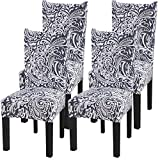 Fuloon Super Fit Stretch Removable Washable Short Dining Chair Protector Cover Seat Slipcover for Hotel,Dining Room,Ceremony,Banquet Wedding Party (4 Per Set, B)