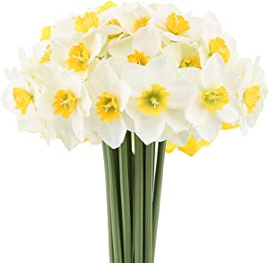 Mossyard 2 Bunches 12 Heads Artificial Daffodils, 15.8 Inches Long Stem Blossom Silk Sun Flowers for Home Wedding Office Party Garden Decor, Floral Arrangements, Table Centerpieces, White