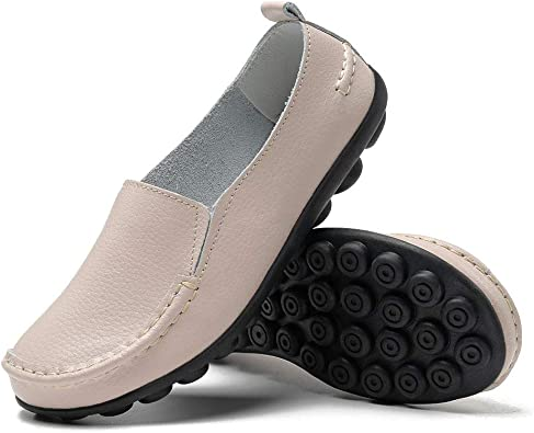 Amazon.com   FUDYNMALC Loafers for Women Comfortable Slip On Dress Shoes  Casual Leather Walking Flats Outdoor Driving Shoes   Loafers & Slip-Ons