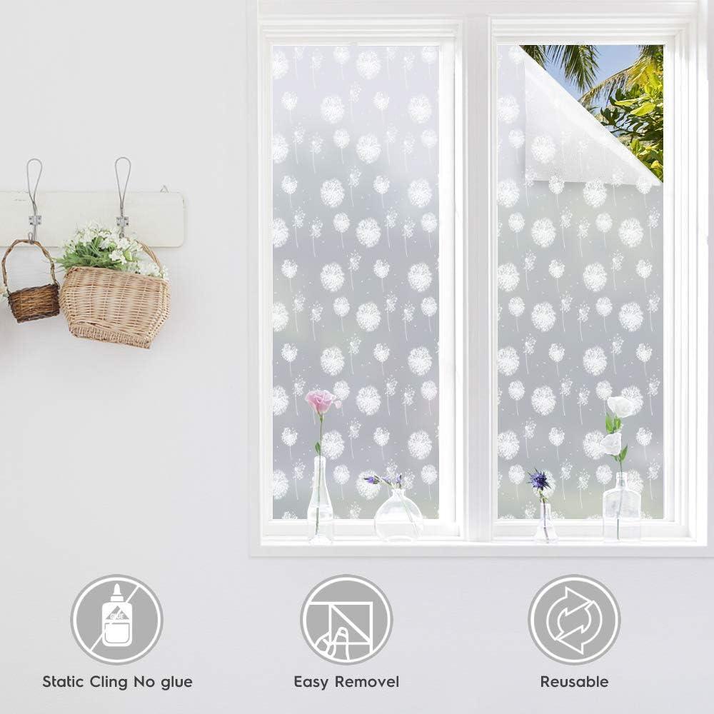 Livingroom 44.5X200CM Bathroom Bedroom rabbitgoo Privacy Window Film Frosted Glass Film Christmas Window Sticker Decorative No Glue Static Cling Dandelion Pattern for Xmas Holiday