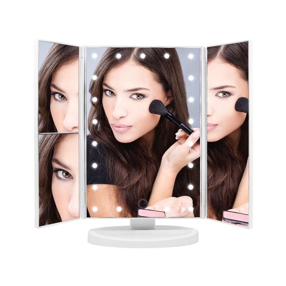 Vulcan LED Lighted Trifold Vanity Makeup Mirror, 1x-3x Magnification with 21 LED Lights, Touch Screen Rotating Stand Redok Enterprises Inc