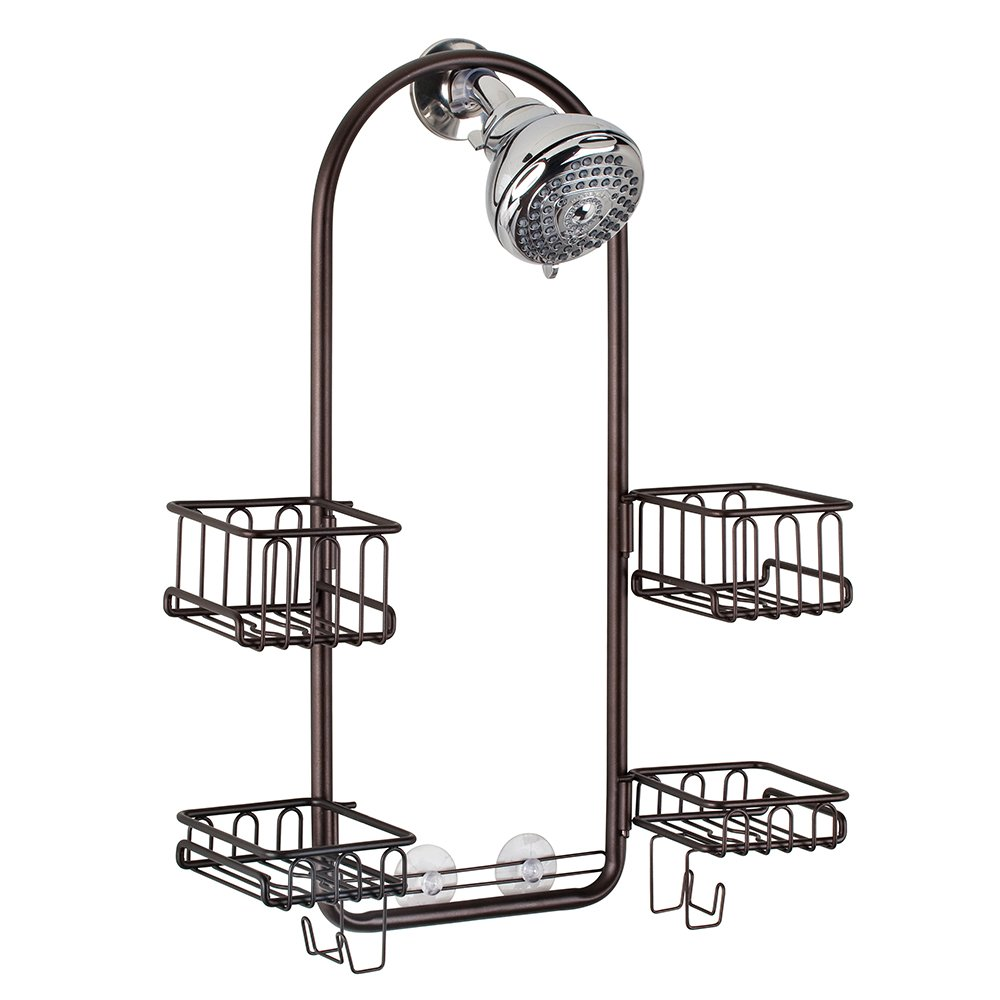 InterDesign Classico Handheld Shower Head Bathroom Caddy – Storage Shelves for Tall Shampoo and Conditioner Bottles, Bronze