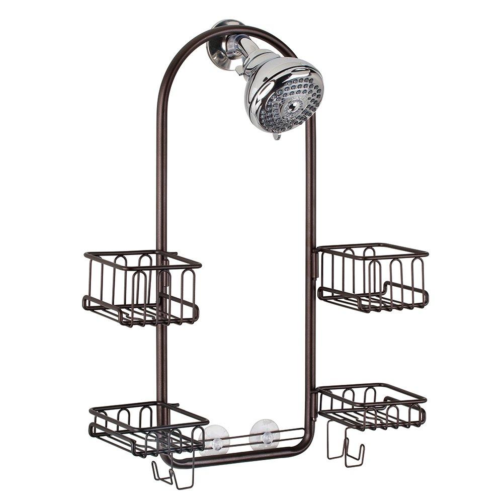InterDesign Classico Handheld Shower Head Bathroom Caddy – Storage Shelves for Tall Shampoo and Conditioner Bottles, Bronze by InterDesign (Image #1)