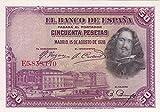1928 ES SUPERB 1928 50 PESETA BANKNOTE w