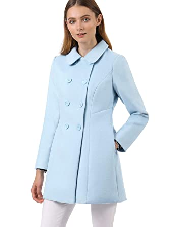 c106858bc75a Allegra K Women's Peter Pan Collar Double Breasted Winter Long Trench Pea  Coat Blue XS (