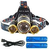 LEDヘッドライト USB充電式 3*CREE XM-L T6 12000ルーメン【実用点灯4-7時間】4種の点灯モード 登山 釣り アウトドア 防水 ヘッドランプ 充電用USBケーブル・18650電池付属