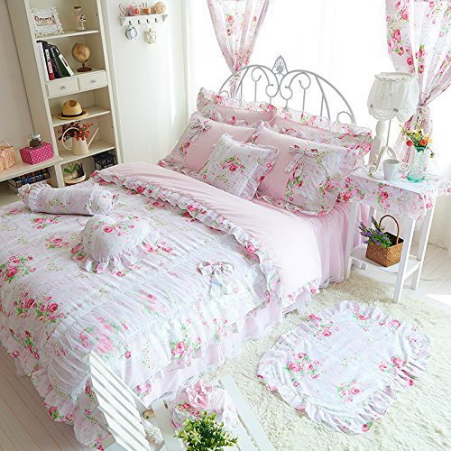 Sisbay French Rural Girls Bed Set White Pink Full Size